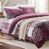 雙人 法蘭絨舖棉兩用被床罩四件組「浪漫月夜」5x6.2尺 / 即瞬保暖 / 熱感蓄溫