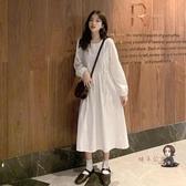 泡泡袖洋裝 白色洋裝女春秋裝氣質2020新款秋冬法式長袖收腰打底長裙子