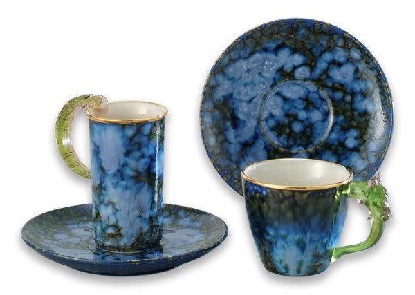 鹿港窯~ 琉璃耳 陶藝咖啡【金邊綠點對杯】(二杯二盤) 附精美包裝◆免運費送到家