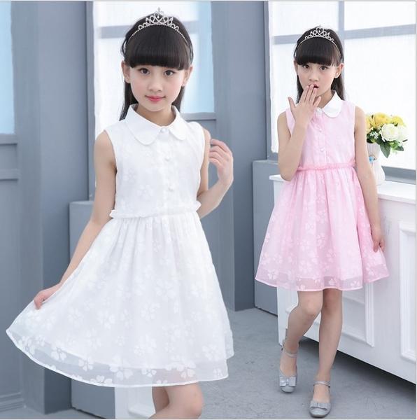 衣童趣 ♥女童 白領 無袖 甜美蕾絲紡紗洋裝 簡約氣質款 連身裙 外出百搭款【現貨】