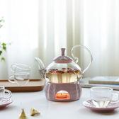 彩泥三色阿拉伯玻璃茶具套裝花茶壺茶杯帶加熱底座WY【快速出貨八折優惠】