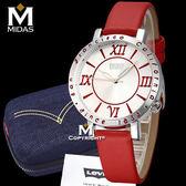 LEVIS 女錶 石英錶 真皮錶帶 大錶面羅馬數字設計 Levi's 女用手錶 經典盒裝/紅皮帶白錶面/38.5mm