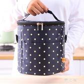 野餐袋 圓點簡約小清新飯盒包手提包飯袋防水鋁膜學生野餐便當保溫包 KB9415【野之旅】