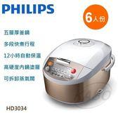 【佳麗寶】母親節好禮(Philips)飛利浦-六人份微電腦電子鍋HD3034