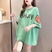 中長版t寬版上衣大碼短tM-2XL韓版寬松短袖t恤印花圓領胖mm半袖上衣R028.1號公館
