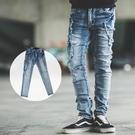牛仔褲 破壞抽鬚側口袋小直筒牛仔褲【NB...