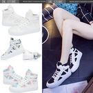 韓版 平跟平底高幫帆布女鞋