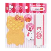 〔小禮堂〕Hello Kitty 日製造型自黏便利貼《紅棕.鬆餅》標籤貼.便條紙.N次貼 4991863-47440