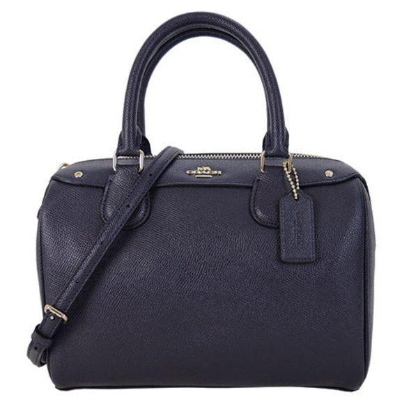 COACH 馬車素面皮革手提/斜背波士頓包(小/深藍) 女生包包 品牌女包 側背包 手提包 大包 COACH包