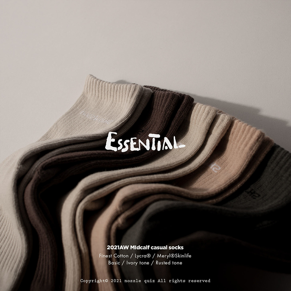 Nozzle Quiz 後研 Essential 中筒休閒襪 基本款系列 男女 單一尺寸 23公分到29公分 【ACS】