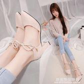 夏季新款時尚包頭高跟鞋尖頭中跟單鞋粗跟絨面交叉綁帶女涼鞋