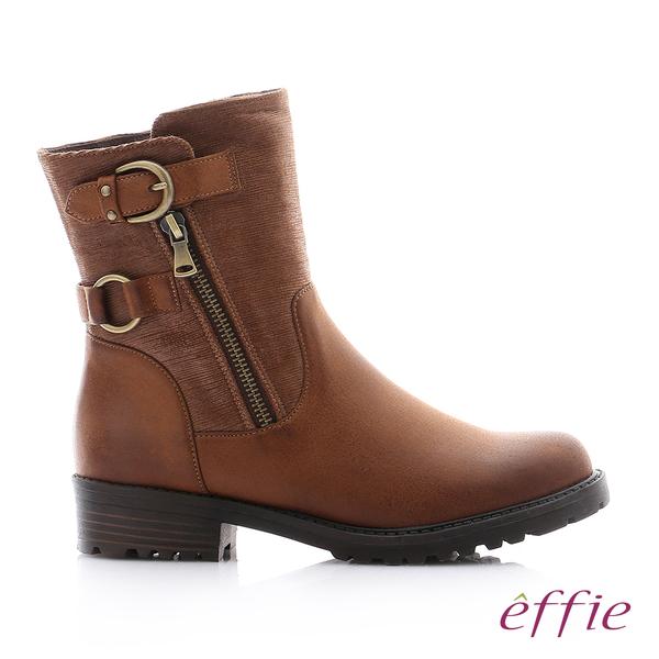 effie 個性美型 防潑水麂皮扣帶拉鍊中筒靴 茶