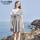 促銷假兩件連衣裙2018夏季時尚正韓西裝領套頭刺繡收腰格子短裙女推薦