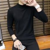 半高領毛衣男士韓版個性針織衫加厚冬長袖黑色小中領打底衫男潮流-ifashion