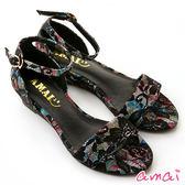 amai精靈蕾絲印花一字繞踝楔型涼鞋 黑