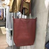 真皮肩背包-大容量牛皮休閒純色女手提包2色73yn15【巴黎精品】