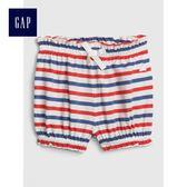 Gap女嬰兒 布萊納小熊刺繡條紋鬆緊腰燈籠短褲 441308-紅色條紋