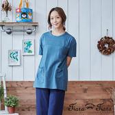 【Tiara Tiara】雙口袋細紋短袖上衣(藍/灰)