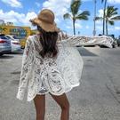防曬服 比基尼罩衫女夏季海邊度假溫泉泳衣外套鏤空蕾絲寬鬆防曬沙灘外搭