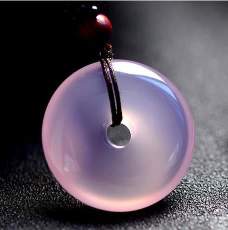 618好康又一發冰種紫玉髓平安扣吊墜情侶男女玉墜白冰玉項鍊