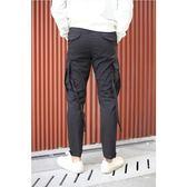 窄腳褲 黑色工裝窄腳褲 街頭休閒男士口袋長褲 koko時裝店