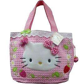 【波克貓哈日網】Hello kitty凱蒂貓手提包◇緹花布草莓包◇補貨到羅!!