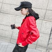 pu外套女 短款女士皮衣長袖夾克韓版新款大碼機車顯瘦連帽皮外套