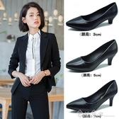 工作鞋女黑色職業面試上班舒適正裝皮鞋新款高跟鞋細跟粗跟女單鞋 西城