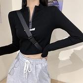 長袖T恤 短款緊身上衣女長袖設計感打底衫秋季新款修身顯瘦露臍黑色T恤ins 維多原創