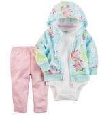 Carter's 套裝 包屁衣  綠色花朵外套粉紅長褲短袖包屁衣3件套裝組