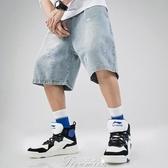 夏季新款水洗字母刺繡腰帶撞色牛仔短褲男潮寬鬆直筒休閒五分褲子 提拉米蘇