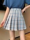 百摺裙高腰a字短裙顯瘦夏季2021新款bm風裙子包臀jk格子半身裙女 非凡小鋪