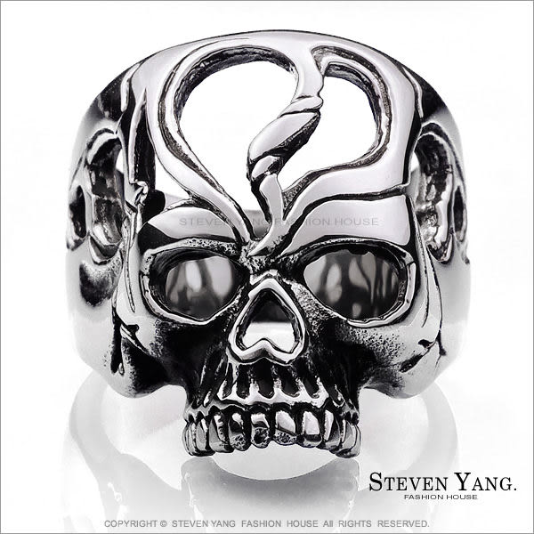 鋼戒指 西德鋼飾「惡魔降臨」骷髏頭 型男造型款