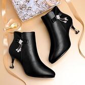 細跟靴秋冬新款高跟短靴女細跟裸靴尖頭皮靴短筒加絨馬丁靴子 芊墨左岸