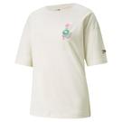 PUMA Downtown graphic 女裝 短袖 T恤 休閒 地球 花 歐規 米【運動世界】53167973