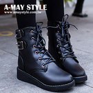 中筒靴-復古英倫中筒短靴