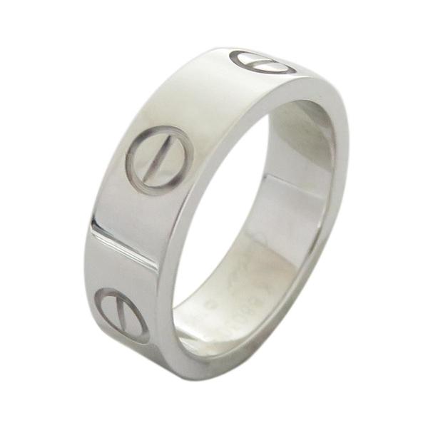 Cartier 卡地亞 LOVE系列18白K金戒指 #50 LOVE Wedding Ring【二手名牌 BRAND OFF】