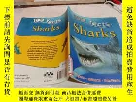 二手書博民逛書店100罕見facts sharks《100個事實鯊魚》Y200392
