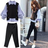 VK精品服飾 韓國風條紋襯衣馬甲時尚套裝長袖褲裝