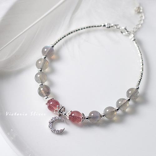S925純銀 優雅簡約森林系甜美月亮灣草莓晶手鍊-維多利亞180621