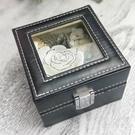 永生花DIY配件,精美皮革開窗盒,尺寸11*11*8cm (不包含花材)