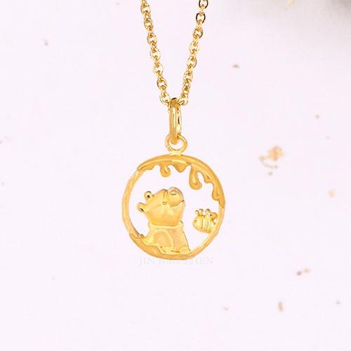 迪士尼系列金飾-黃金墜子-蜜蜂維尼(加贈金色鋼鍊)