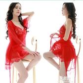 性感情趣睡衣睡裙女春夏秋薄款蕾絲吊帶網紗三件套透視V領家居服 易家樂