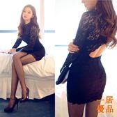 洋裝連身裙韓版夜店女裝修身露背透視超性感打底包臀蕾絲連身裙