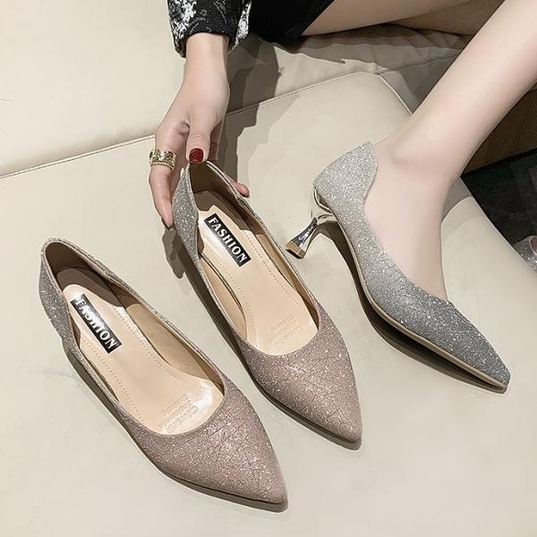 尖頭鞋.名媛未來感漸層金蔥酒杯低跟包鞋.白鳥麗子