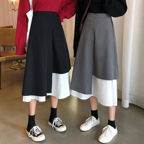 長裙 半身裙2021秋冬新款小眾設計感不規則拼接高腰顯瘦A字裙包臀長裙 艾維朵