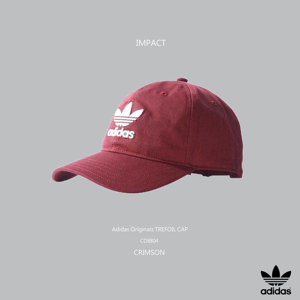 IMPACT Adidas Originals Trefoil Cap LOGO 酒紅 白 老帽 棒球帽 灣沿帽 三葉草 情侶 男女可戴 CD8804