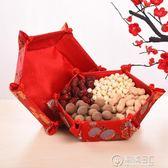婚慶用品結婚織錦緞布藝果盤 婚禮婚宴布置紅色喜慶瓜果盤 igo電購3C