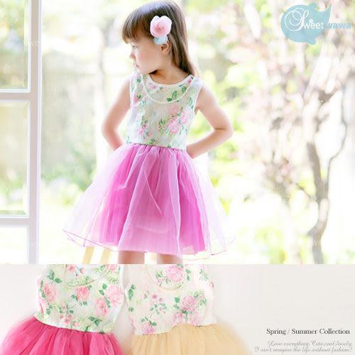 浪漫夏日~玫瑰蕾絲花~拼接蕾絲洋裝~2色~送珍珠項鍊(190375)★水娃娃時尚童裝★