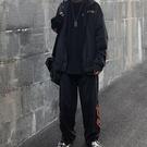 運動休閒套裝 INS嘻哈歐美高街金絲絨火焰刺繡街舞寬鬆運動休閒開衫套裝男